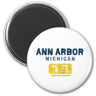 Grand état de lac ann Arbor Michigan Magnet Rond 8 Cm