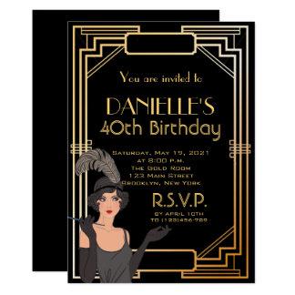 Grand Gatsby a inspiré l'invitation d'anniversaire Carton D'invitation 12,7 Cm X 17,78 Cm