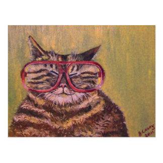 Grand gros chat en verre carte postale