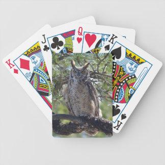 Grand hibou à cornes dans l'arbre jeux de cartes