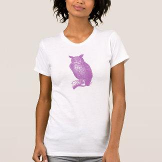 Grand hibou à cornes pourpre mignon et élégant t-shirts