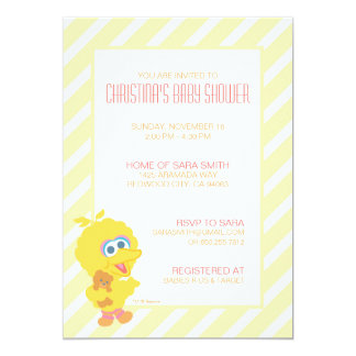 Grand invitation de baby shower d'oiseau