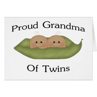 Grand-maman fière des jumeaux carte de vœux