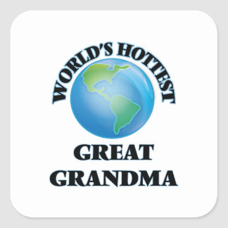 Grand-maman la plus chaude du monde la grande sticker carré