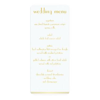 Grand menu blanc et d'or de mariage de Gatsby Carton D'invitation 10,16 Cm X 23,49 Cm
