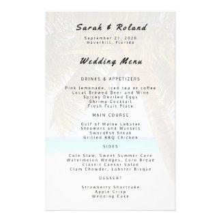 Grand menu de coutume de mariage de plage de prospectus 14 cm x 21,6 cm
