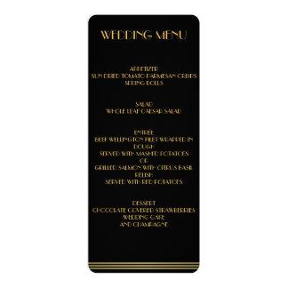 Grand menu d'or et de mariage de Gatsby de noir Carton D'invitation 10,16 Cm X 23,49 Cm