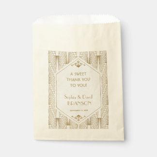 Grand Merci de blanc d'or d'art déco de Gatsby Sachets En Papier