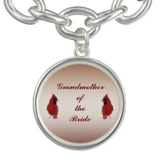 Grand-mère cardinale de mariage de la jeune mariée bracelets avec breloques