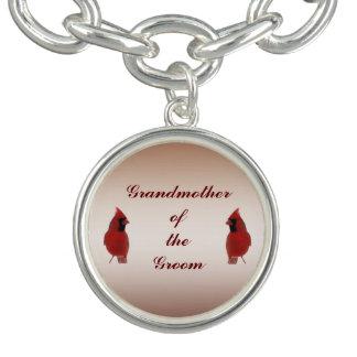 Grand-mère cardinale de mariage du marié bracelets avec breloques