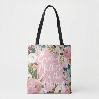 Grand-mère de noce florale balayée par marié tote bag