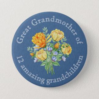 Grand-mère orange personnalisée de bouquet floral badges