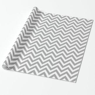 Grand motif de zigzag blanc gris-foncé de Chevron Papier Cadeau
