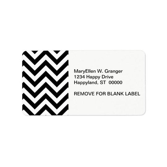 Grand motif de zigzag noir et blanc de Chevron Étiquette D'adresse