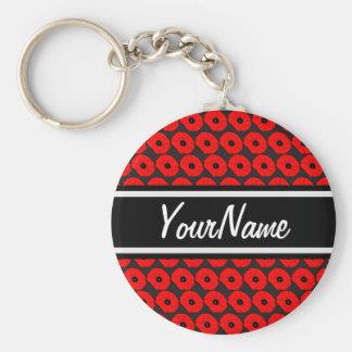 Grand motif rouge de pavots avec le nom porte-clé rond