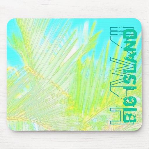 Grand mousepad d'aquarelle de paume d'île d'Hawaï Tapis De Souris