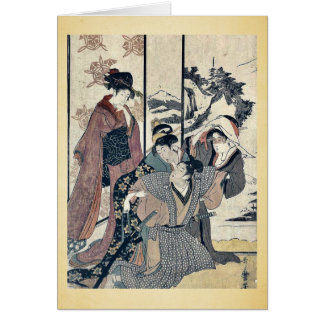 Grand nettoyage de maison par Kitagawa, Utamaro Carte De Vœux