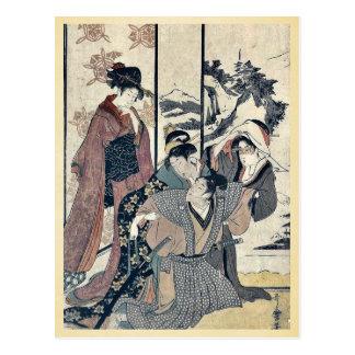 Grand nettoyage de maison par Kitagawa, Utamaro Carte Postale