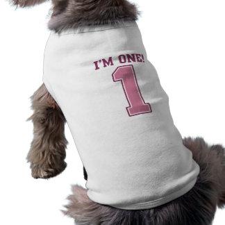Grand nombre rose un, le premier anniversaire de t-shirt pour chien