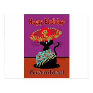 Grand-papa de chat de sombrero carte postale