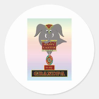 GRAND-PAPA de Pâques d'éléphant Sticker Rond