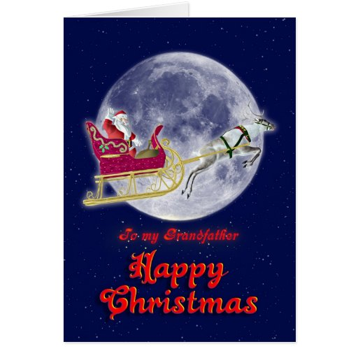 Grand-père de Joyeux Noël, père Noël dans son traî Cartes De Vœux