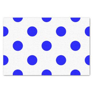 Grand pois - bleu sur le blanc papier mousseline