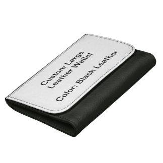 Grand portefeuille en cuir fait sur commande (noir
