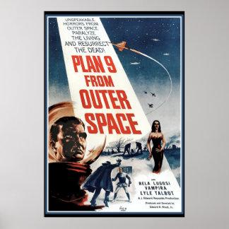 Grand poster vintage - vieux film d'espace extra-a posters