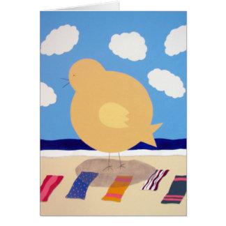 Grand poussin de plage cartes de vœux