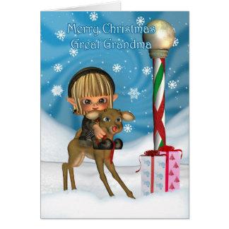 Grand renne d'Elf de grand-maman de Noël, Rudolf, Carte De Vœux