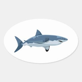 Grand requin blanc sticker ovale