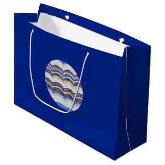 Grand sac brillant de cadeau de mosaïque bleue