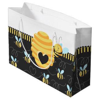 Grand Sac Cadeau Abeille mignonne de miel bourdonnant autour du
