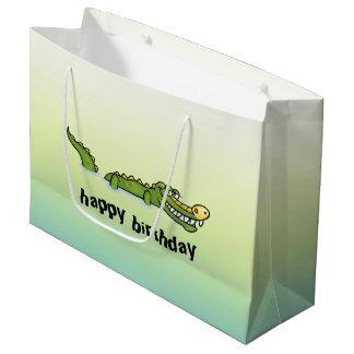 Grand Sac Cadeau Alligator de joyeux anniversaire