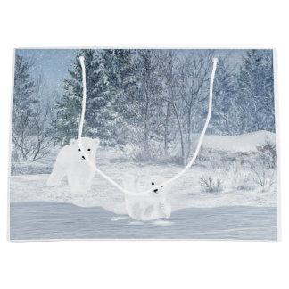 Grand Sac Cadeau Amusement de neige - ours blanc CUB