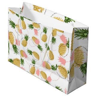 Grand Sac Cadeau Ananas et cônes de pin