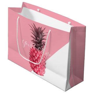 Grand Sac Cadeau Ananas rose et blanc tropical girly mignon