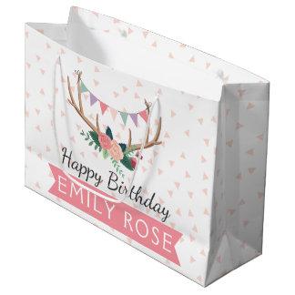 Grand Sac Cadeau Andouillers roses et anniversaire de la fille