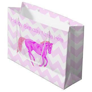 Grand Sac Cadeau Anniversaire de poney de Z joyeux de motif mignon