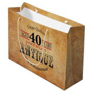 Grand Sac Cadeau Antiquité tout anniversaire d'âge