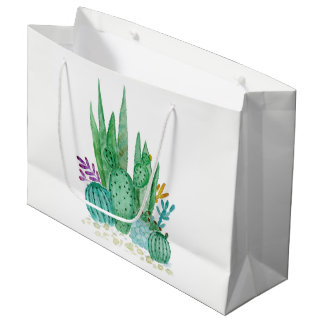 Grand Sac Cadeau Aquarelle, cactus, succulents