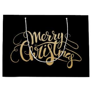Grand Sac Cadeau Aquarelle de Noël | - cerf commun mignon d'hiver
