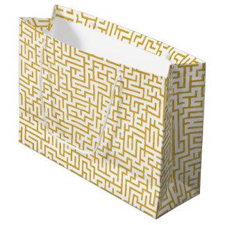 Grand Sac Cadeau Art moderne de labyrinthe élégant - or et blanc