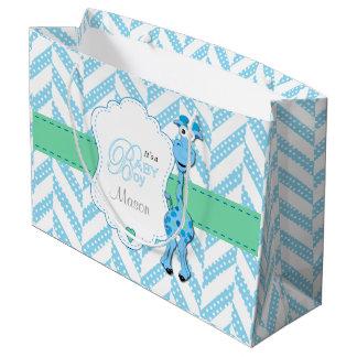 Grand Sac Cadeau Baby shower 2 de girafe de bleus layette