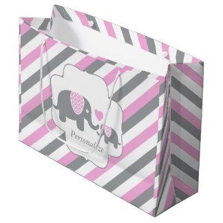 Grand Sac Cadeau Baby shower blanc, rose et gris d'éléphants de