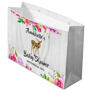 Grand Sac Cadeau Baby shower floral d'aquarelle de cerfs communs de