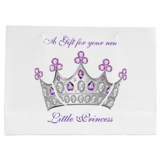 Grand Sac Cadeau Baby shower, princesse Crown, rose et pourpre