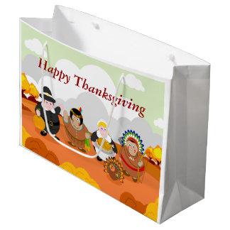 Grand Sac Cadeau Bande dessinée moderne du premier thanksgiving