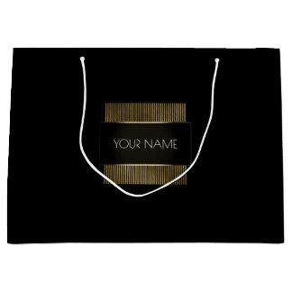 Grand Sac Cadeau Beauté de marquage à chaud de luxe minimal noir